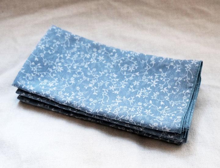 Light Blue Vintage Napkins with Tiny White Floral Design, Set of 4