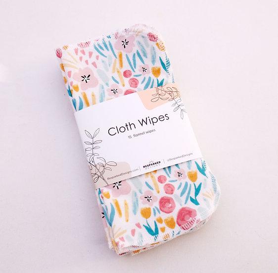 Small Pastel Flowers - Reusable Wipes/Hankies