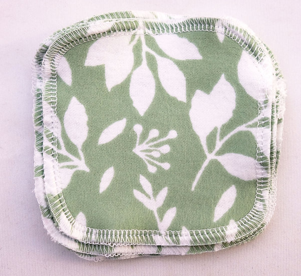 Mint Green with White Leaves - Set of 5 Facial Rounds