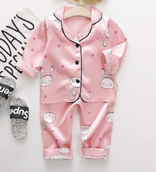 § Pink Bunny Satin Kids Pyjamas