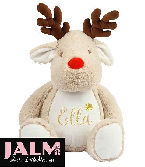 Personalised Reindeer Pyjama Case/Soft Toy