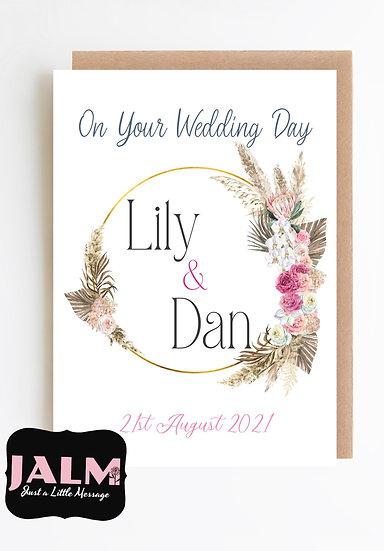 Personalised Boho Wreath Wedding Day Greeting Card