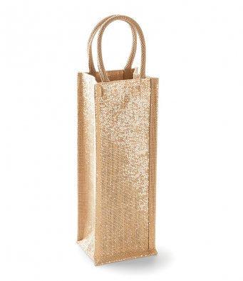 § Gold Glitter Jute Bottle Bag