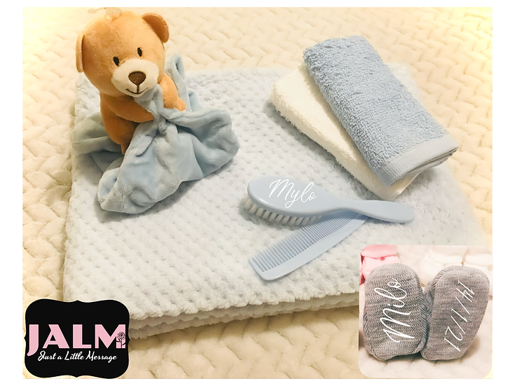 § New Baby Blue Personalised Gift Set Gift Wrapped