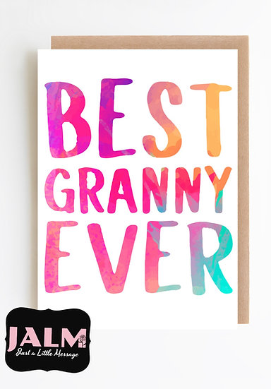 'Best Granny' Watercolour Greetings Card