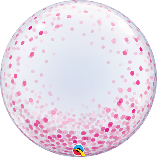 """Personalised Pink Confetti 24"""" Gumball Bubble Balloon Gift"""