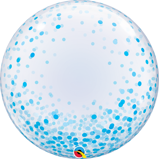 """Personalised Blue Confetti 24"""" Gumball Bubble Balloon Gift"""