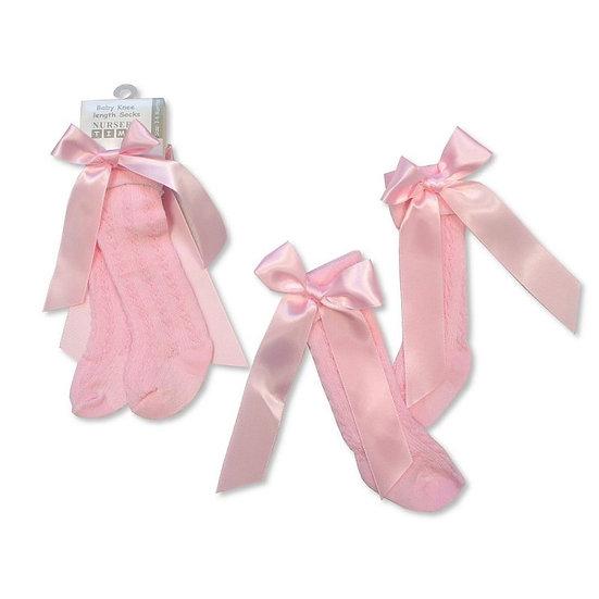 § Pink Knee High Ribbon Socks