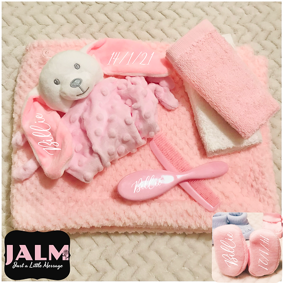 § New Baby Pink Personalised Gift Set Gift Wrapped