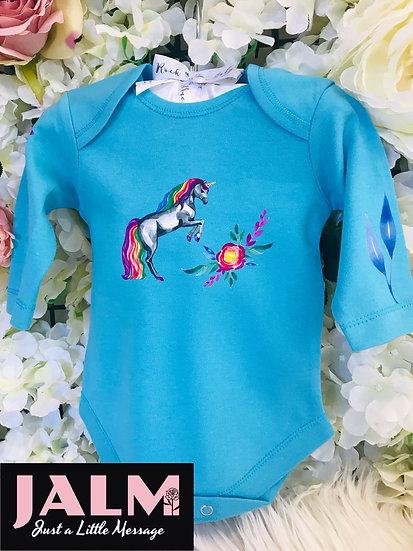 Personalised Unicorn New Baby Rainbow Vest
