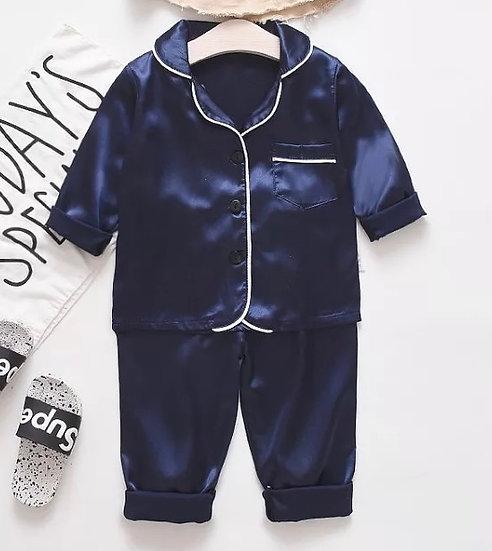 Navy Satin Kids Pyjamas