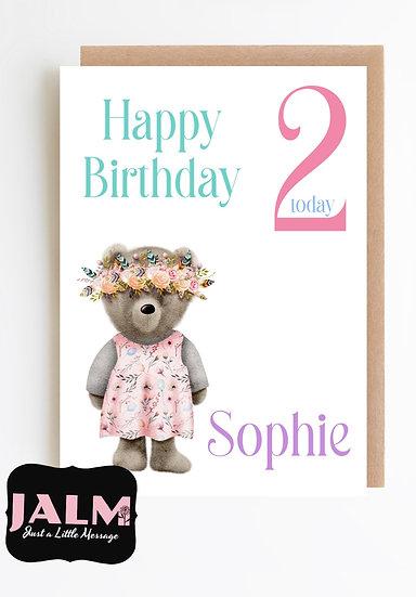Personalised Floral Bear Birthday Card