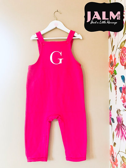 § Girls Personalised Initial Comfy Dungarees