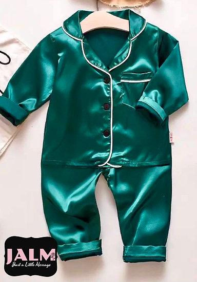Green Satin Kids Pyjamas