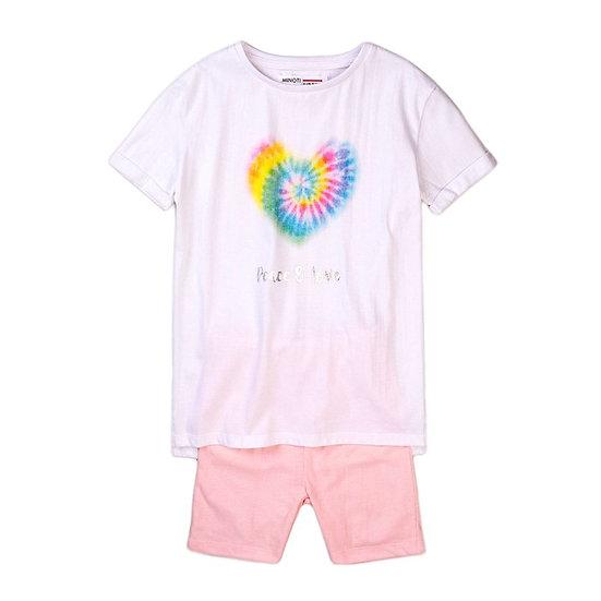 § Tie Dye 'Peace & Love' Top & Short Set
