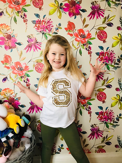 § Kids White Varsity Custom 'Initial' Tee- 4 Print Colours!