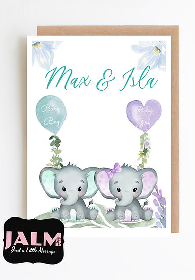 Personalised Twins Greeting Card