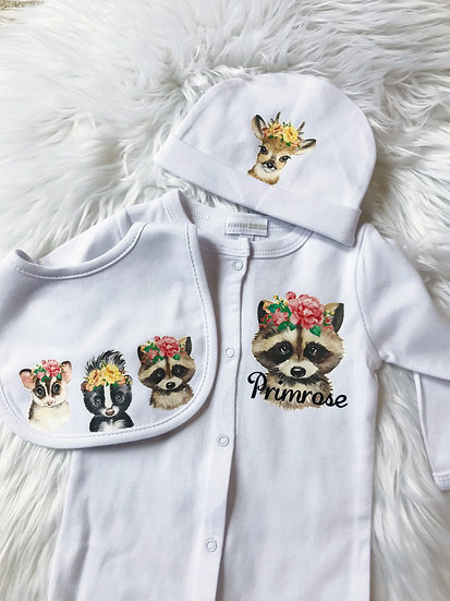5 Piece Personalised Baby Set- 8 Designs
