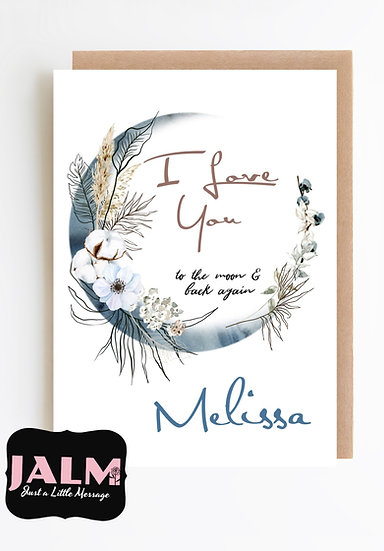 Personalised Moon 'I Love You' Greeting Card