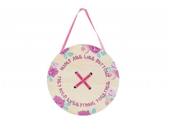 'Mum' Wooden hanging Button Plaque