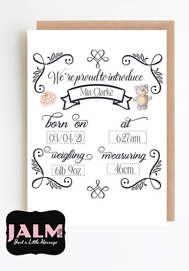 New Baby Announcement Card