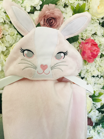 § Hooded Pink Bunny Baby Blanket