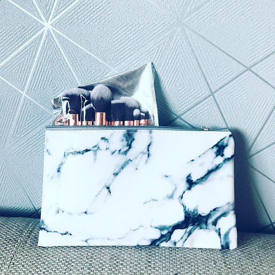 § Marble Make Up Bag with Brushes