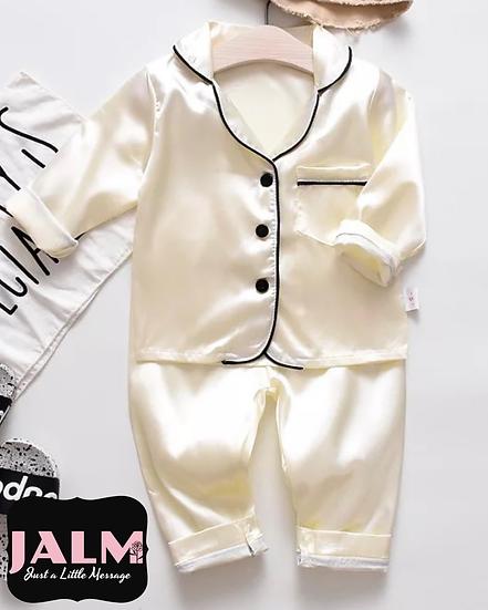 Ivory Satin Kids Pyjamas