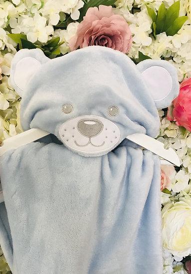 § Hooded Blue Bear Baby Blanket