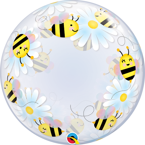 """Personalised Spring Bee 24"""" Gumball Bubble Balloon Gift"""