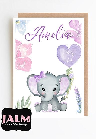Personalised Baby Girl Greeting Card