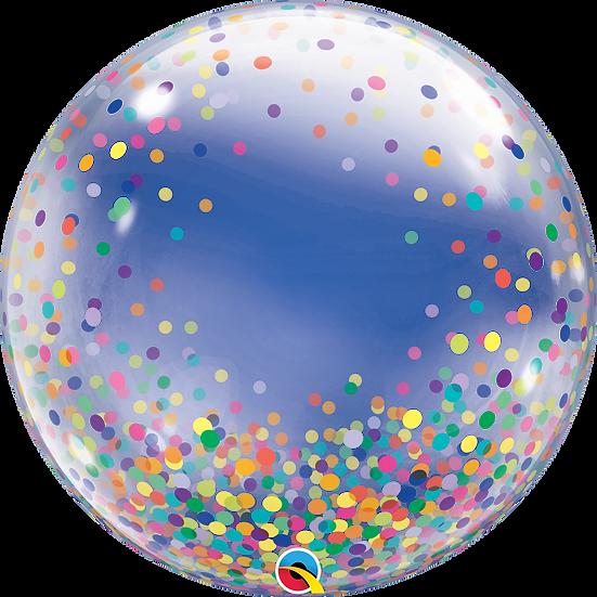 "Personalised Rainbow Confetti 24"" Gumball Bubble Balloon Gift"