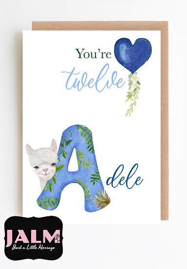 Safari Personalised Birthday Greeting Card