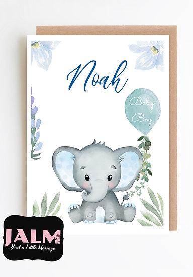 Personalised Baby Boy Greeting Card