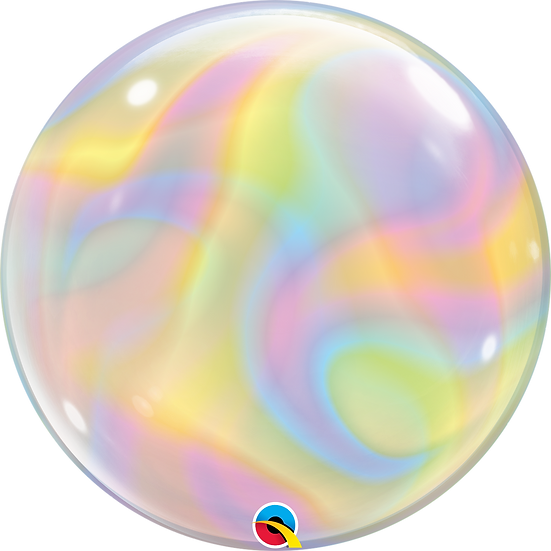"Personalised Iridescent Swirls 22"" Gumball Bubble Balloon Gift"