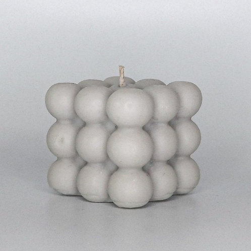 SOFT GREY BUBBLE CUBE CANDLE