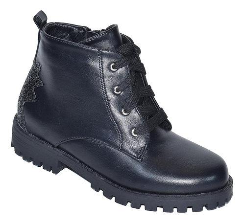 Μποτάκι Teddy shoes με φερμουάρ και κορδόνια C3206BL