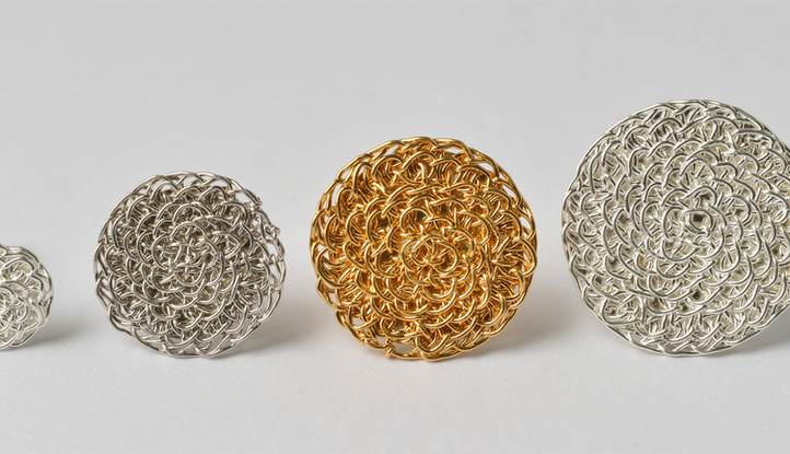 Ohrstecker Struktur, Silber, rhodiniert, feinvergoldet