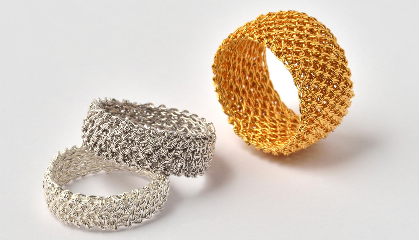 Luftmaschenringe Silber, rhodiniert, feinvergoldet