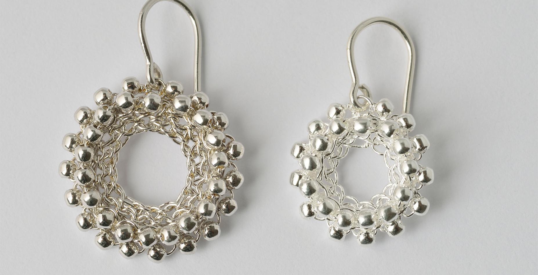 Ohrhänger Loop Doppelperlchen, rhodiniert, Silber