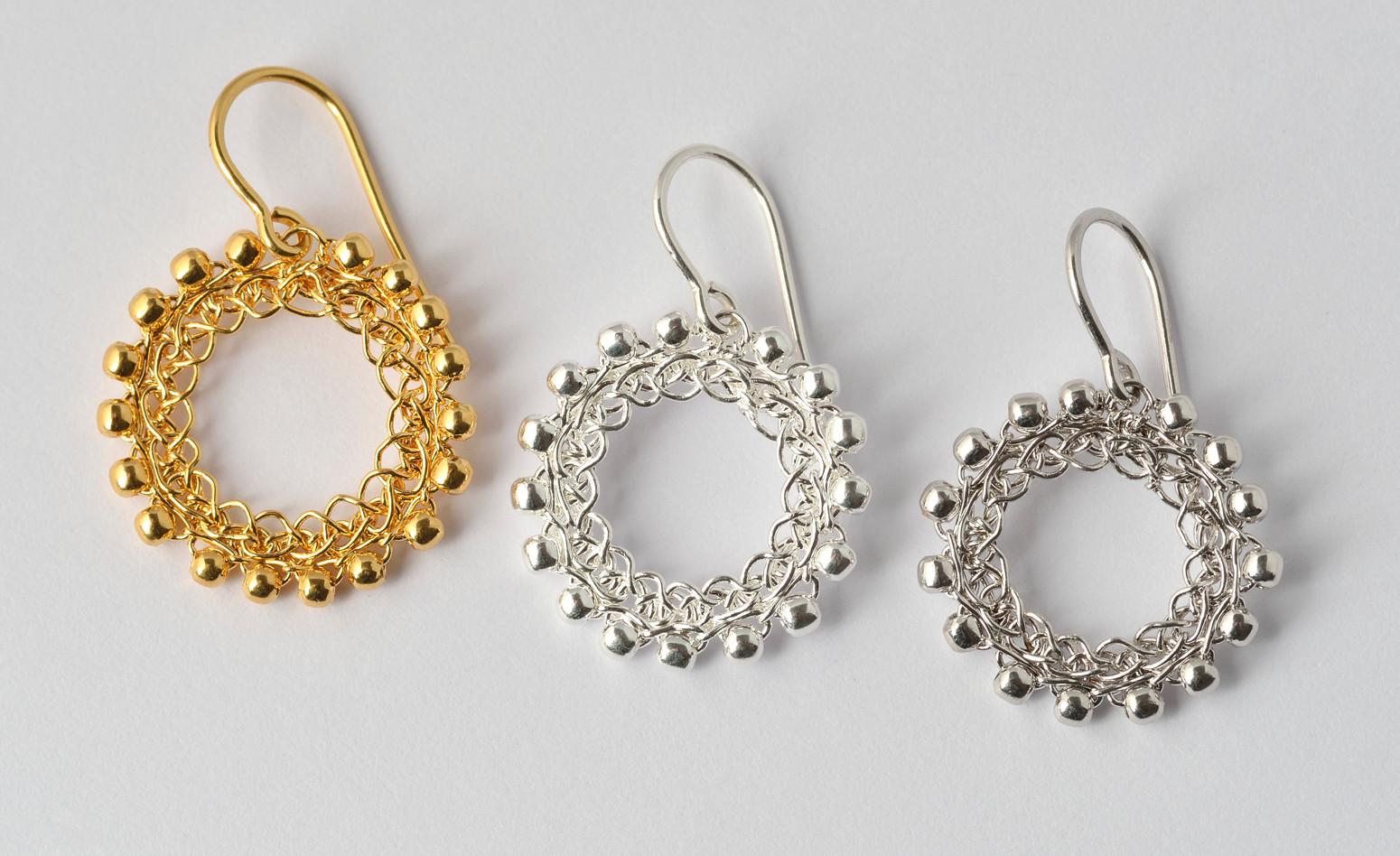 Ohrhänger Loop feinvergoldet, Silber, rhodinie