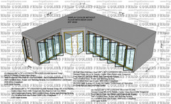 L-SHAPE COOLER AND BEER CAVE 6X24X27X10X5 HIGH 1-GDS 30X79 3-GDS 30X79 2-36X81 GLASS ENTRANCE DOORS