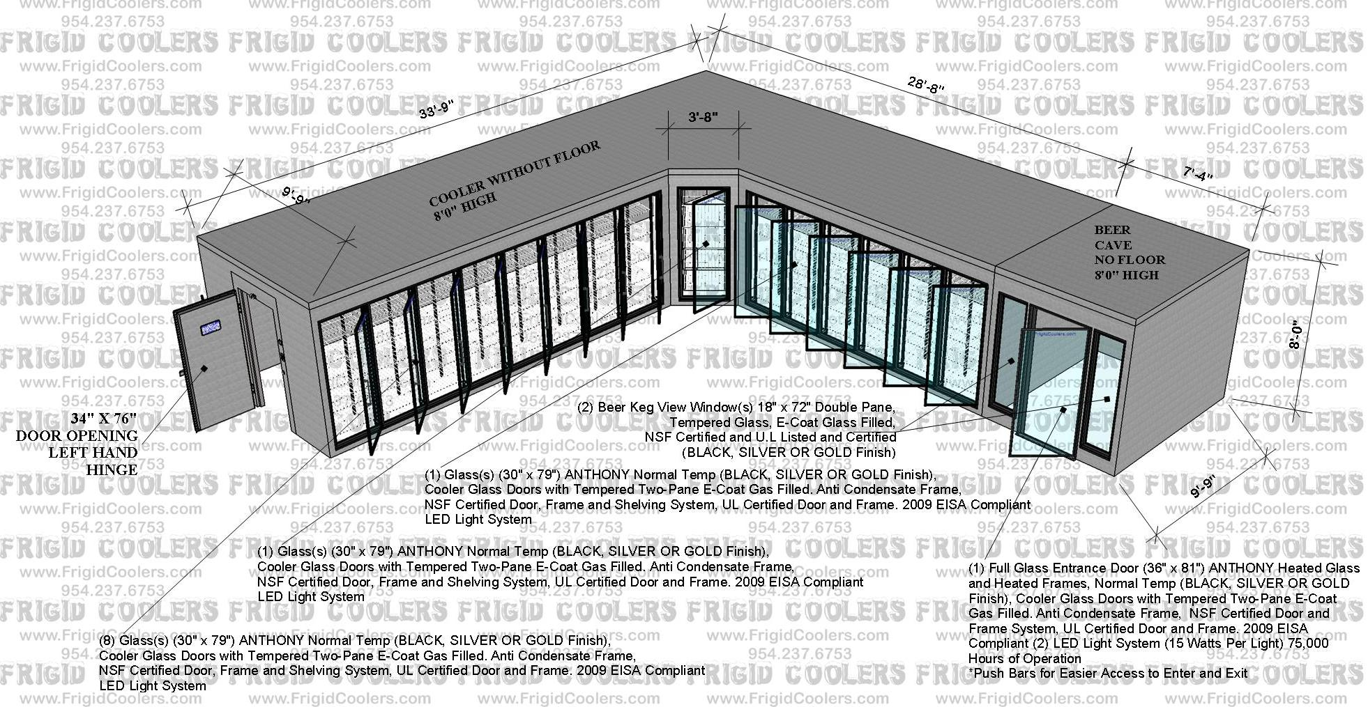 L-SHAPE COOLER AND BEER CAVE 10X33-9X36X10X8 HIGH 8-GDS 6-GDS 1-GD 1-GED 2-VIEW WINDOWS_2