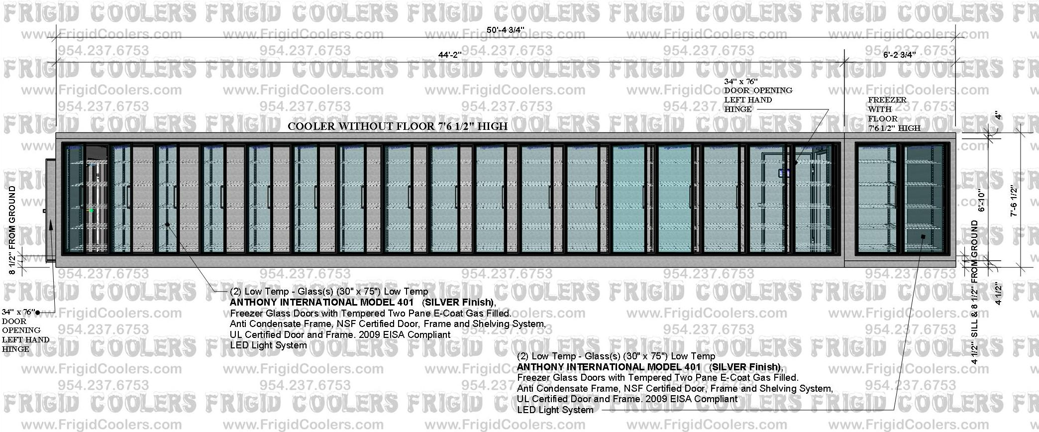 DISPLAY GLASS DOOR COOLER AND FREEZER 8X50-4X7-6 17-COOLER DOORS AND 2- FREEZER DOORS  (2)