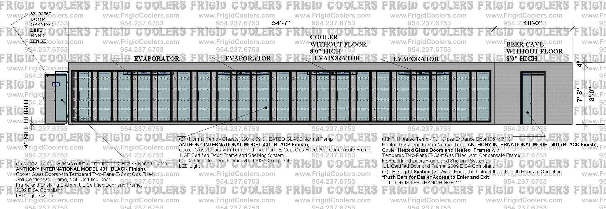 L-SHAPE COOLER AND BEER CAVE 10X64-7X15X10X8 HIGH 21-GDS 30X79 1-GDS 30X79 1-36X81 ENTRACE GLASS DOO