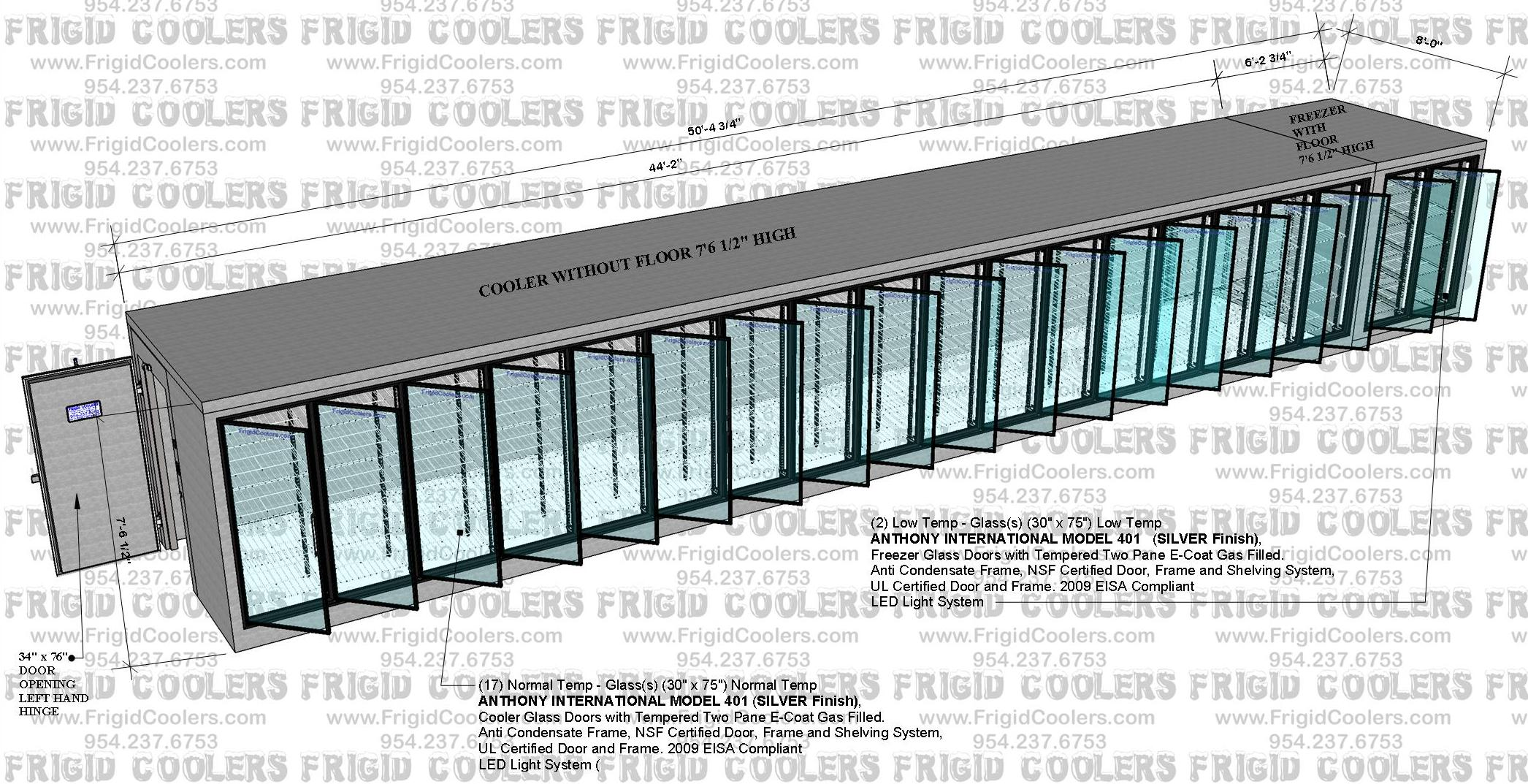 DISPLAY GLASS DOOR COOLER AND FREEZER 8X50-4X7-6 17-COOLER DOORS AND 2- FREEZER DOORS  (3)