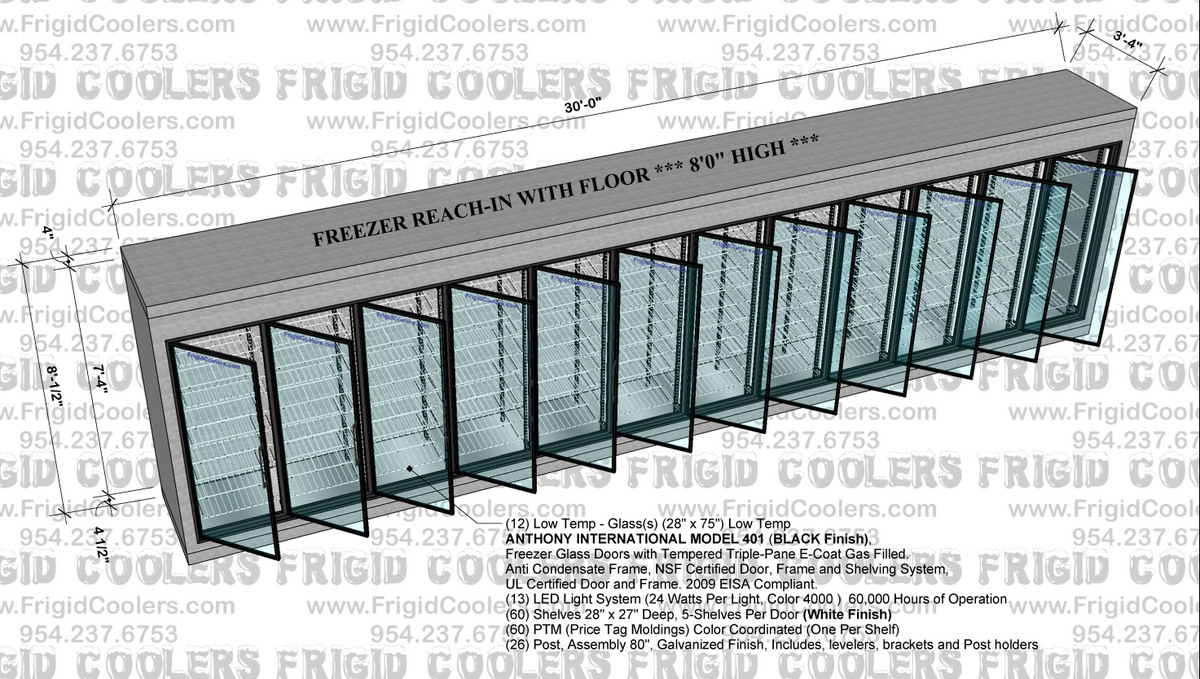 REACH-IN FREEZER 3-4X23X8 HIGH -3