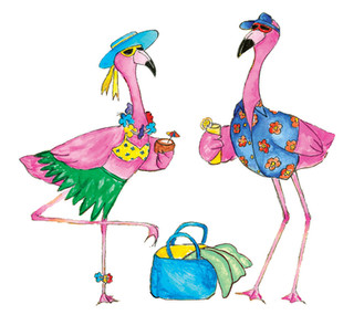 Ink and Watercolor - flamingo vacay illustration