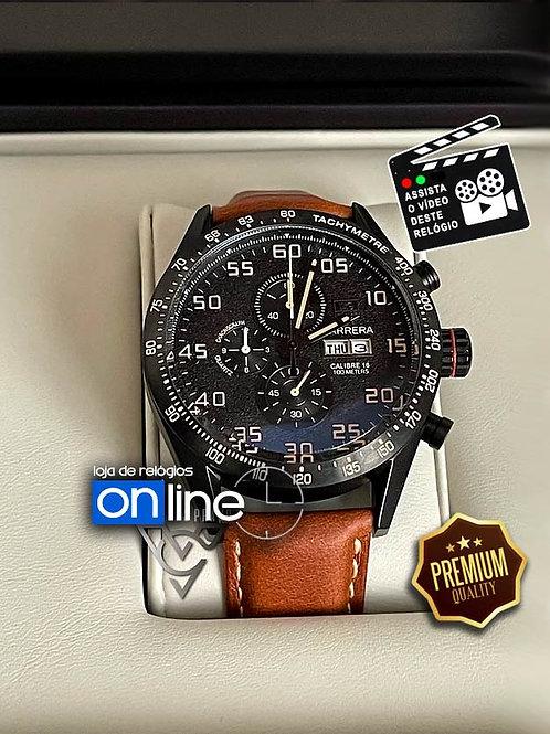 relógio tag heuer calibre 16 preto pulseira de couro