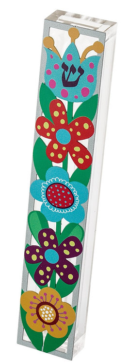 Mezuza for 15 cm scroll,colorfulflowers